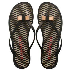Coach Thong Sandals Landon Jelly Black Flip Flops